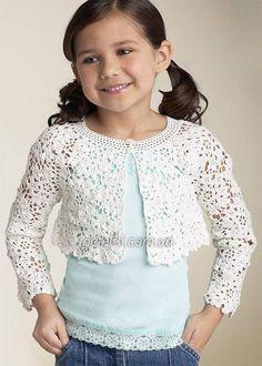 Patrones Crochet, Manualidades y Reciclado: Bolero Calado Para Niñas 2 - 4 - 6 - 8 - 10 Años E...