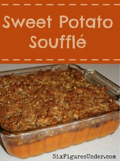 Sweet Potato Soufflé Sweet Potato Souffle-- A delicious fall dessert disquised as a side dish. A perfect addition to Thanksgiving dinner! Recipe and Tutorial Sweet Potato Balls Recipe, Sweet Potato Dishes, Cooking Sweet Potatoes, Sweet Potato Recipes, Potatoe Casserole Recipes, Sweet Potato Casserole, Sweet Potato Suffle, Paleo Dessert, Dessert Recipes