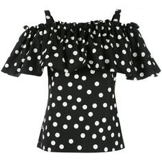 Dolce & Gabbana polka dot cold-shoulder top (40.980 RUB) ❤ liked on Polyvore featuring tops, black, spaghetti strap crop top, loose fit crop top, loose crop top, polka dot crop top and summer tops