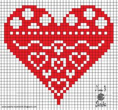 Heart Cross Stitch. Can also be used on tapestry crochet. ♥ⓛⓞⓥⓔ♥ this decorative pattern!  #love #crochet #hearts and #valentines