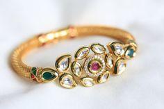 Ruby Emerald Kundan Bangle Bracelet                                                                                                                                                     More