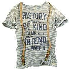 "Striped T-shirt with braces ""History will be kind to me for I intend to write it"" Scotch & Soda"