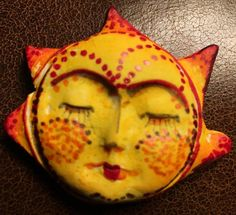 New to pinksupply on Etsy: Handmade clay face  goddess  crown Sun woman doll head  mask  jewelry craft supplies  cabochon spirit mosaics dolls jewelry craft (7.75 USD)