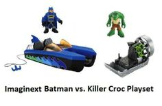 Imaginext Batman vs. Croc Playset by Fisher Price. $69.99. Imaginext Batman vs. Croc Playset. Killer Croc figure, and Croc's Swampboat with spinning fan action .. Playset Includes:Batman figure (with Classic Blue Batsuit), Batboat (twin hull design) with launching and retractable hook. There's an undercurrent of trouble on the Gotham City waterways-Batman needs to get there fast! It seems that Killer Croc has just arrived in his Swampboat and is terrorizing Gotham Harbor. ...