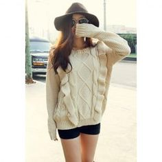 $13.99 Fashionable Round Neck Flounce Hem Long Sleeve Loose Fit Cable Knit Sweater For Women