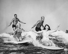 Surf Doubles (1965): Two couples lake surfboarding in Cypress Gardens, Florida. (Photo by Keystone/Getty Images)