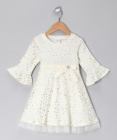Take a look at this White & Gold Polka Dot Dress - Toddler by Youngland on #zulily today!