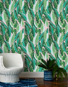 Justina Blakeney X Hygge & West Wallpaper is here! (Justina Blakeney - The Jungalow) Home Design, Design Blog, Interior Design, Diy Design, Wallpaper Decor, New Wallpaper, Pattern Wallpaper, Pink Wallpaper For Walls, Unusual Wallpaper