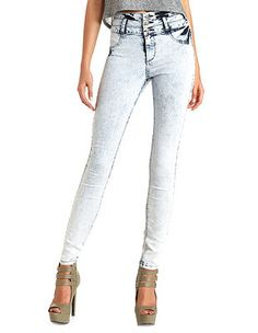 Acid Wash High-Waisted Skinny Jeans: Charlotte Russe