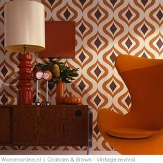 Vintage revival #behang Graham and Brown. #interieur #wandbekleding