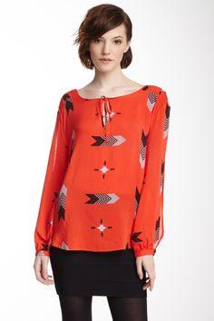 Only $36! BB DAKOTA Womens Clementine Red JAMI Printed Long Sleeve Shirt Blouse sz XS #shopmodo #modoboutique