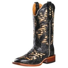 Johnny Ringo Western Boots Womens  Black Grabado Zebra 628-12C