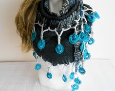 Gray Shawl, Grey Triangle Shawl, Angora Shawl, Grey Scarf, Cadet Grey Shawl, Fancy Gray Shawl, Handmade Shawl Dark Grey, Silver Angora Shawl. This beautiful and exclusive design angora shawl was made from very high quality fabric .. Wool fabric was used to be hot in the neck. All the edges are crocheted lace made .. adorned with turquoise parts .. The edges were secured with decorative stitches .. Very soft and lightweight .. The fabrics used in all products made from the pre-wash…