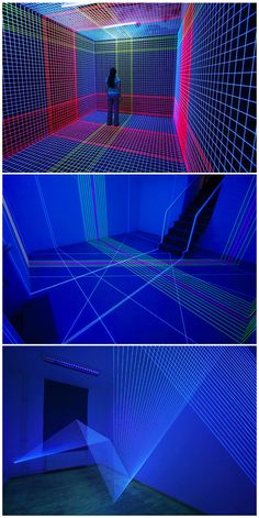 'Three-Dimensional UV Thread Installations' by Jeongmoon Choi. Using light and thread, that play with aspects of perspective and illusion, her fields of three-dimensional lines are installed in place and lit with ultraviolet light to create interactive environments.