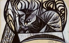 poboh:    Cat on a Basket Chair, 1948, John Craxton. English, born in 1922.