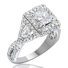 2.39 Carat Radiant Cut Pear Side Engagement & Wedding Ring 14k Solid White Gold #jewelryauctionhouse #SolitairewithAccents #BlackFridayDeals