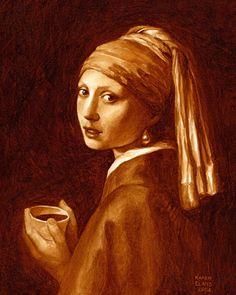 Girl with pearl earring coffee-art by karen