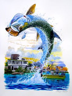 Tarpon Leap Print by Carey Chen Underwater Art, Underwater Photography, Pesca Spinning, Salt Water Fish, Fish Drawings, Types Of Fish, Nautical Art, Ocean Creatures, Chen