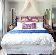 Fabulous headboard and hoop canopy