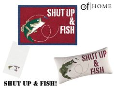 Get the message across with our kitchen towel, pillow, and rug! #Fish #Fishing #HomeDecor #Lodge #Accents