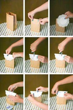 Crea hermosos detalles fáciles y económicos usando simples bolsas y blondas de papel. No es necesario gastar mucho dinero para lograr un pe...