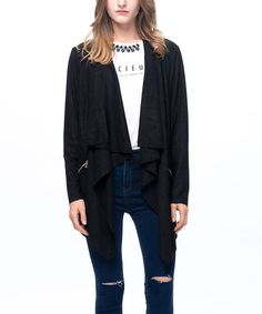Look at this Black Waterfall Open Jacket on #zulily today!