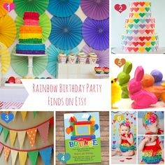1. Rainbow Birthday Party Package Printable by paigesofstyle on Etsy, $39.50  2. Fondant Rainbow Hearts for 3 Tier Cake 6 8 10 by WildOrchidBaking, $125.00  3. EcoFriendly Reusable Fabric Bunting Banner by LittleBirdsBoutique, $34.00  4. Bounce House Invitation Printable Kids Birthday by thepartystork, $13.00  5. Kids' DUCK and BUNNY CRAYONS Toys Rabbit & Baby by ivylanedesigns, $8.95  6. SETBaby Girl ClothesRainbow Lace Petti Romper & by LillyBowPeep, $24.95