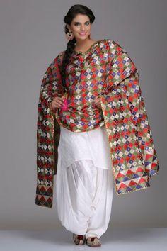 Colourful Cotton Bagh Dupatta With Multicoloured Phulkari Embroidery