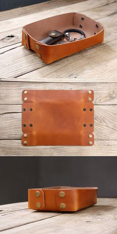Leather Valet Tray, Leather Tooling, Tan Leather, Leather Duffle Bag, Leather Wallet, Desk Accessories, Leather Accessories, Best Shower Cleaner, Crea Cuir