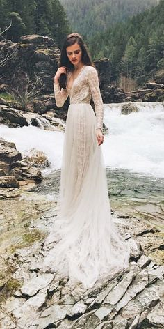 15 Bohemian Wedding Dresses For Charming Brides a line lace v neck boho wedding… - http://makeupaccesory.com/15-bohemian-wedding-dresses-for-charming-brides-a-line-lace-v-neck-boho-wedding/