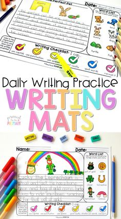 Writing Mats provide daily writing practice for the whole year with a variety of writing prompts and picture word lists. Use these writing activities with kids to help them with writing independently. Use them during writer's workshop and small group instruction. They work great as a self-contained writing center. #proudtobeprimary