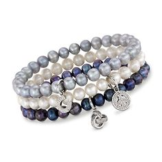 Set of Three 6-6.25mm Multicolored Cultured Pearl Bracelets With Sterling Silver and Diamond Charms