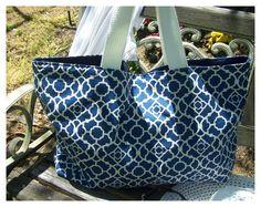 Blue large tote Bag / Beach bag / Getaway Bag by MayFlowerDesign, $34.00
