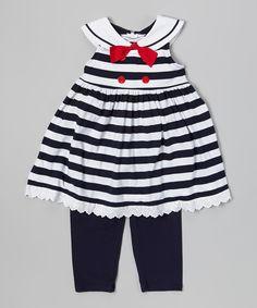 Navy & White Stripe Nautical Tunic & Leggings - Toddler & Girls by Good Lad #zulily #zulilyfinds