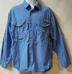 Columbia Blue Outdoor Shirt Size Large 100% Cotton Flap Pockets Hiking Fishing #Columbia #ButtonFront
