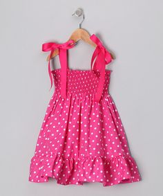 Take a look at this Hot Pink Polka Dot Shirred Dress - Infant, Toddler & Girls on zulily today!