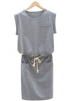 Grey Plain Drawstring Sleeveless Wrap Dress