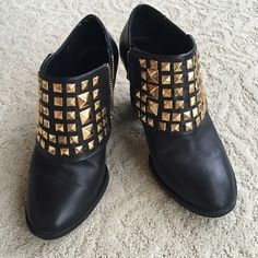 Zara gold pyramid studded ankle booties. Very cool design and comfortable Zara booties. Zara Shoes Ankle Boots & Booties