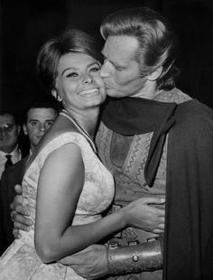 """Sofia Loren & Charlton Heston.  He was such a good actor, he was very """"upset"""" at how much she was paid comparable to his salary."""