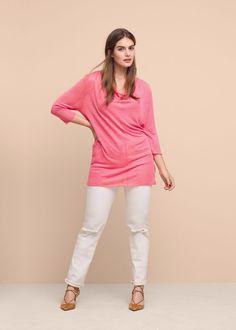 Fine-knit linen sweater | VIOLETA BY MANGO