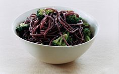Red Wine Spaghetti with Broccoli by gourmet: Seasoned with garlic, red pepper flakes and Pamigiano-Reggiano. #Red_Wine_Spaghetti #Pasta #Broccoli #gourmet