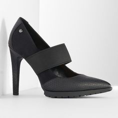 Simply Vera Vera Wang Women's Stretch Mary Jane Platform High Heels ($75) ❤ liked on Polyvore featuring shoes, pumps, black, black slip-on shoes, platform mary janes, mary jane pumps, black mary jane pumps and mary jane platform pumps