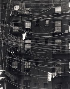 Untitled,(Clotheslines) New York, gelatin silver print Ralph Steiner signed and annotated 'New York' in pencil (on the mount); signed and West Street, New York' credit in pencil (on the reverse of the mount)