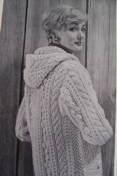Snuggly and warm 1960s vintage knitting pattern, chunky long womens hooded cardigan - perect for Fall and Winter. Instructions are for womens cardigan