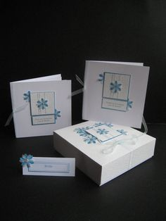 Wedding Stationery - hand crafted save the day card, invitation, place cards, keep sake box.  Blue Flowers