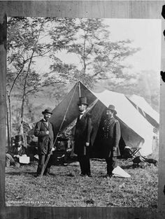 Allan Pinkerton, President Abraham Lincoln and General John A. McClernand at Antietam, Maryland