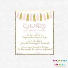 Pink and Gold Baby Shower Games Candy Guessing by OhBabyShower
