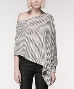 Look at this #zulilyfind! Black & White Mosaic Noah Asymmetrical Top by Mickey & Jenny #zulilyfinds