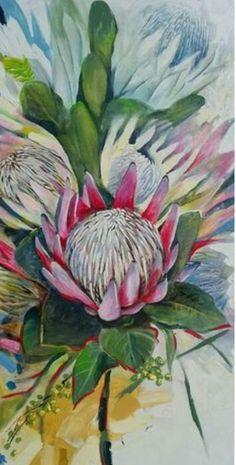 Protea Art, Protea Flower, Botanical Art, Botanical Illustration, Illustration Art, Watercolor Flowers, Watercolor Paintings, Flower Paintings, Watercolour