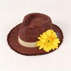 Elegent sun straw hat with flowers for women summer wear